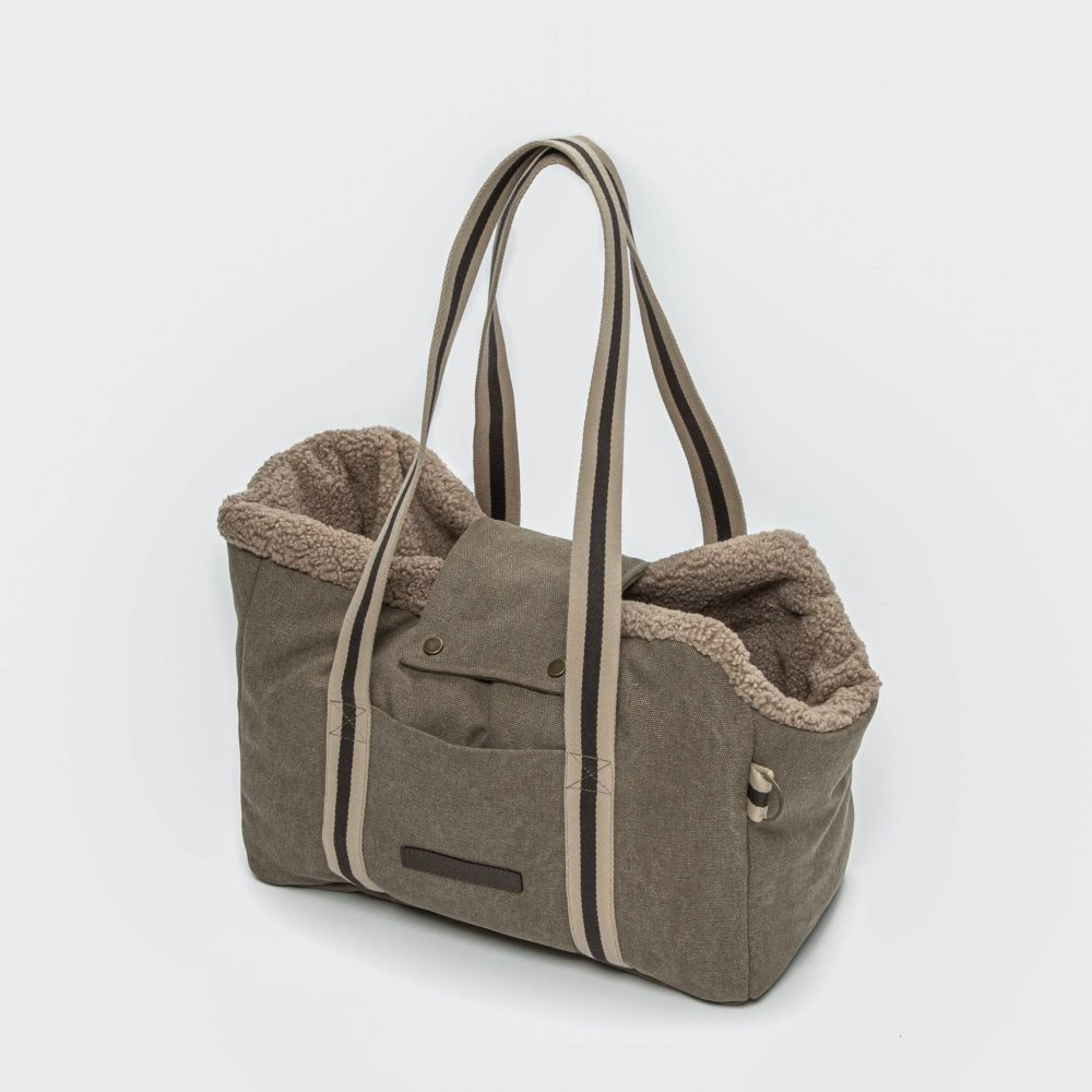 Dog Carrier Lucca Canvas Sand 1